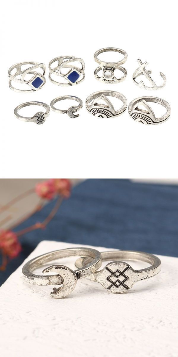 8 88 Rings At Pcs Retro Silver Color Moon Sun Crown Geometric Knuckle Ring Set Bohemian Women Jewelry 3 Times Goes To Voicem