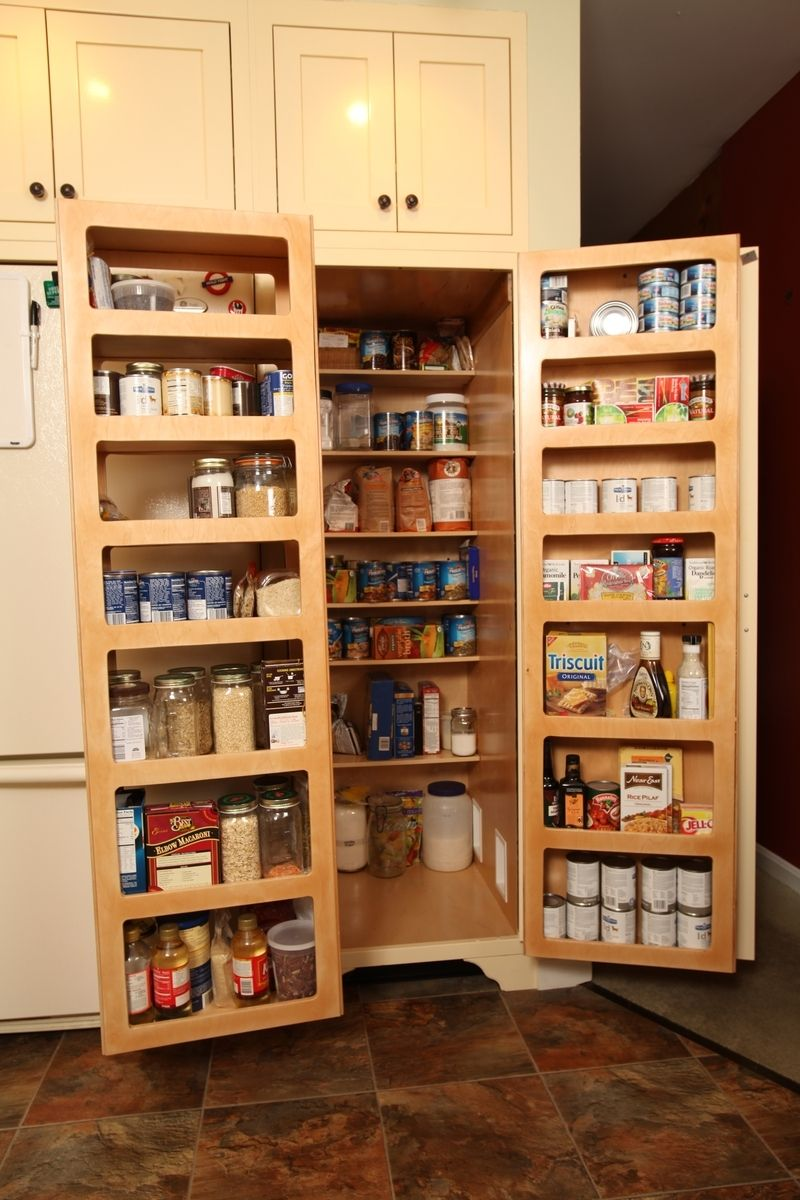 Kitchen pantry double fold out doors