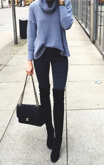 c8586eb48da8 Grey cowl neck sweater/jumper, skinny black jeans, black high knee boots  and black handbag. #boots #skinny-jeans