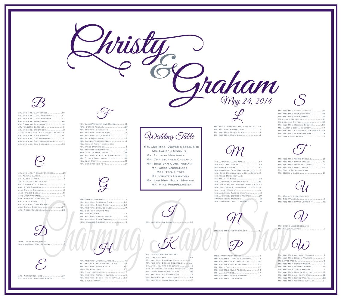 Wedding Seating Chart Eggplantwedding Board Reception Idea Printable Features Seatingwedding Seatinghead Tablesreceptions