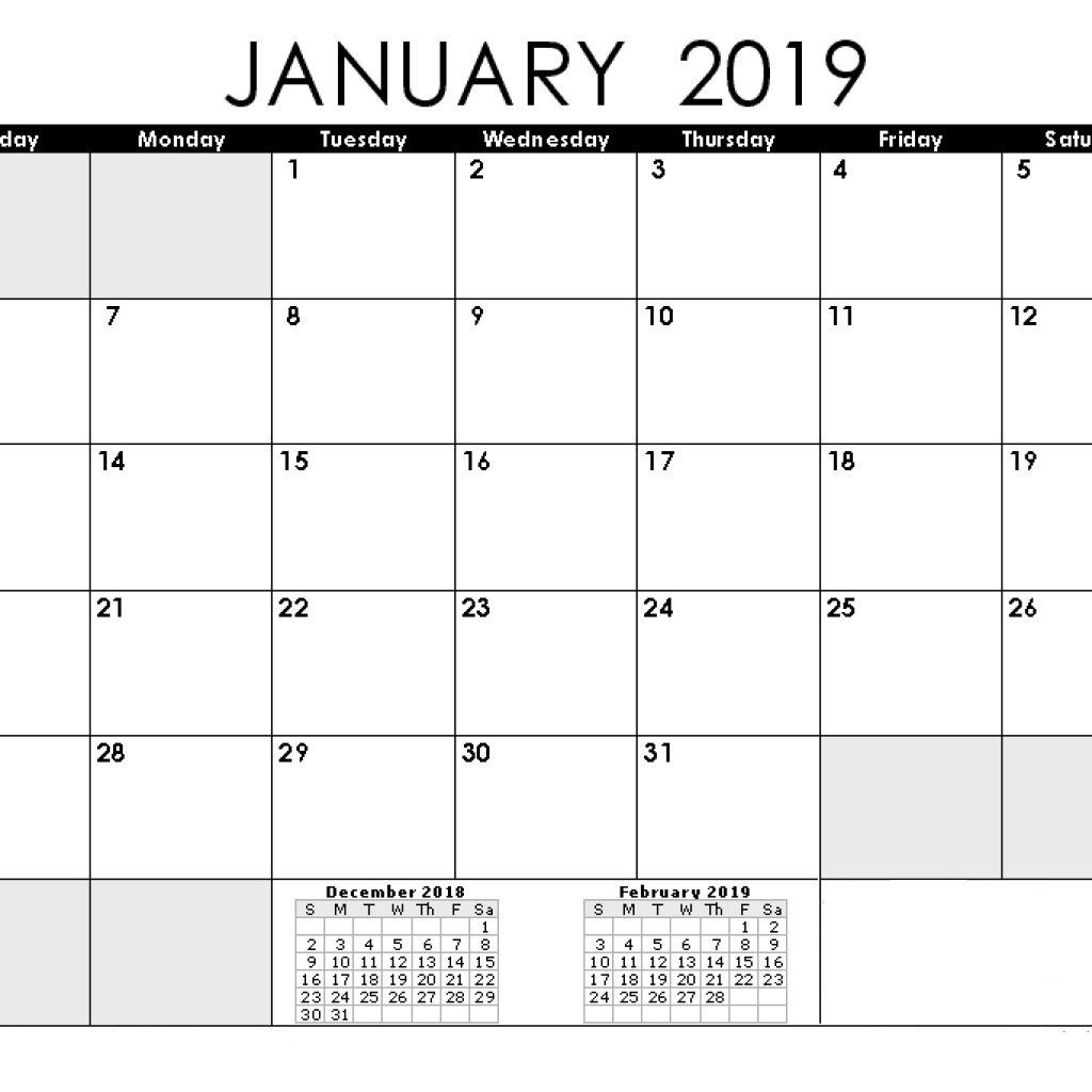 Decorative Calendar January 2019