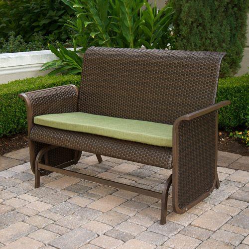 Patio Glider Bench Modern Wicker Loveseat Furniture