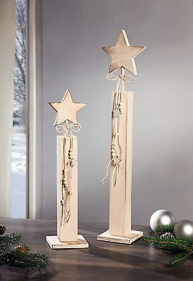 Deko s ulen stern 55 cm holzs ulen shabby chic for Dekoration advent weihnachten