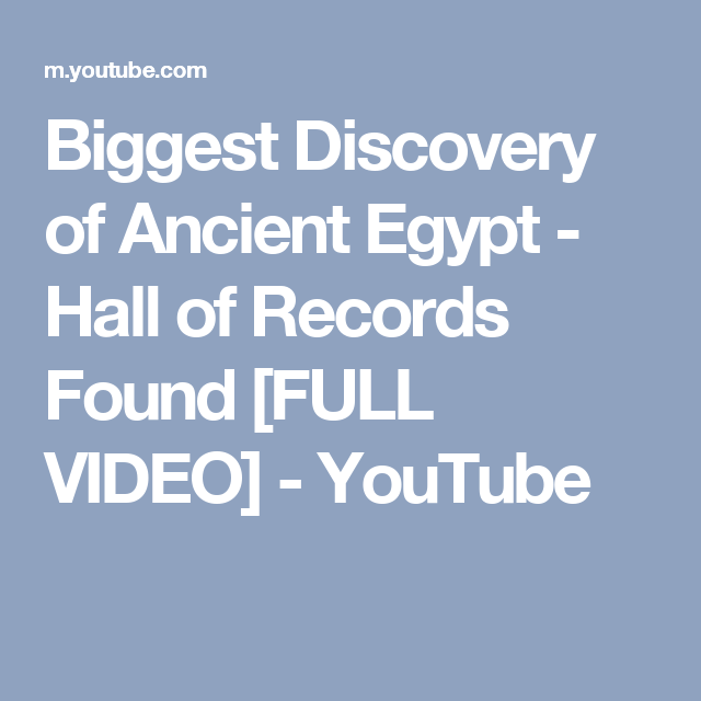 Biggest discovery of ancient egypt hall of records found full flat earth biggest discovery of ancient egypt hall of records found full video youtube publicscrutiny Choice Image