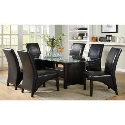 Iohomes Glass Top With Arched Table Legs Dining Table Wood Black In