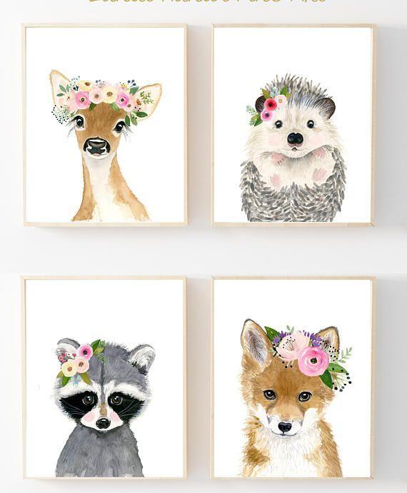 Woodland Nursery Decor, Woodlan Nursery Prints, Nursery Decor, Woodland Nursery Girl, Baby Animals Print Baby Girl Nursery Woddland Prints #babyanimals