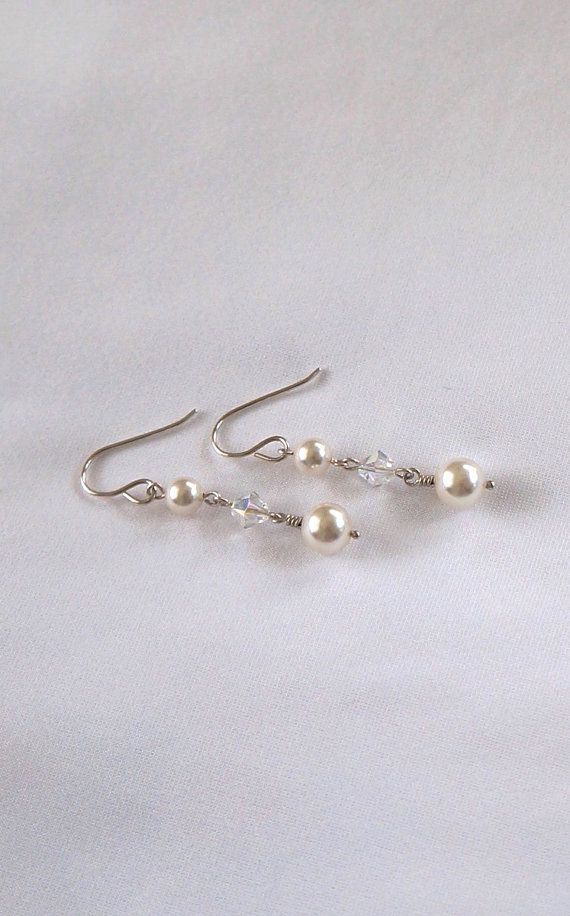 White Pearl Dangle Earrings White Wedding Swarovski by IOStudio