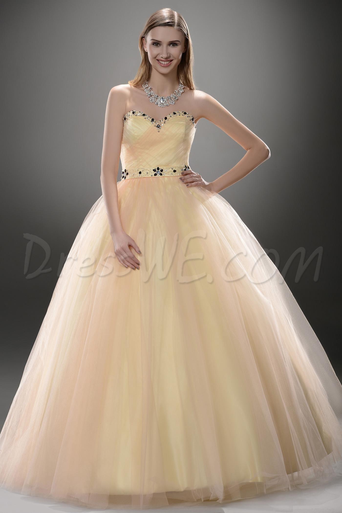 Attractive aline floorlength sweetheart pleats promball gown