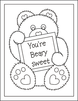 Valentine coloring cards - free printable Valentine cards for kids