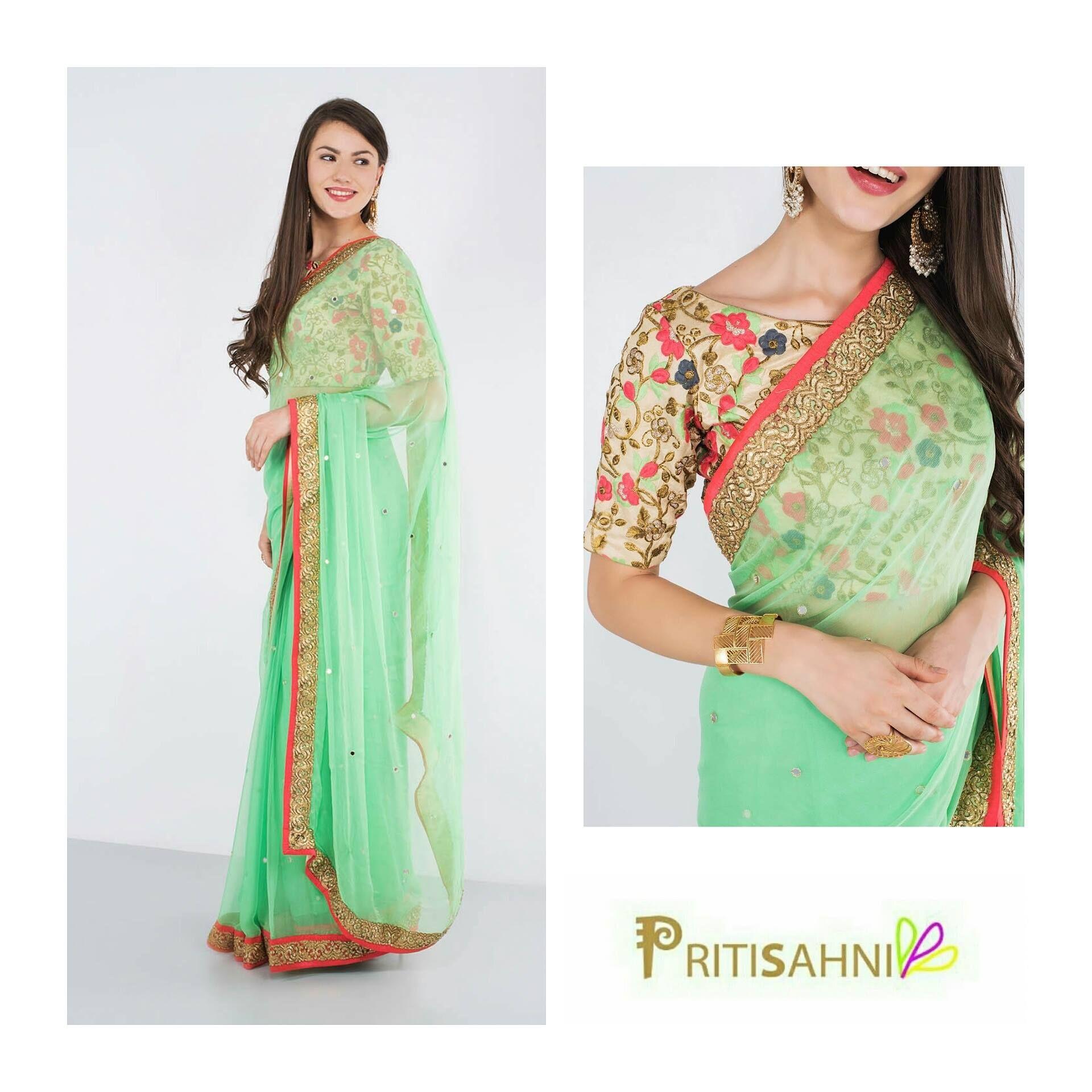 2cd4ddb72a Mint Green Chiffon Saree | Indian Saree & Blouse Design in 2019 ...