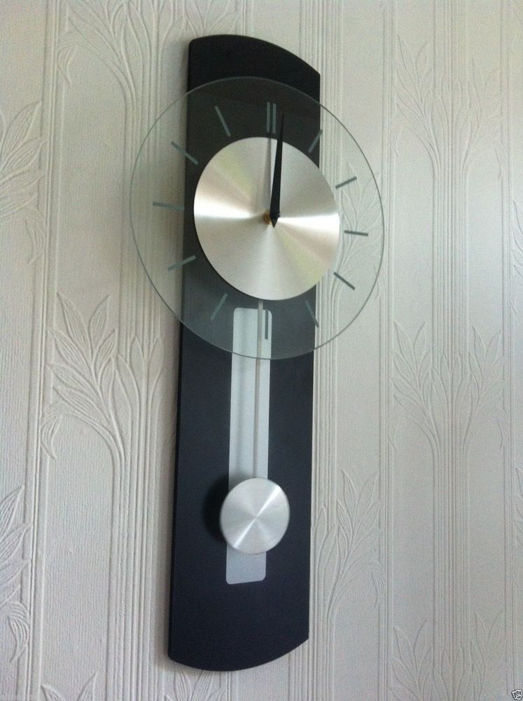 Quartz Pendulum Wall Clock With Silver Pendulum Clear Glass Clock Black  Clock Part 44