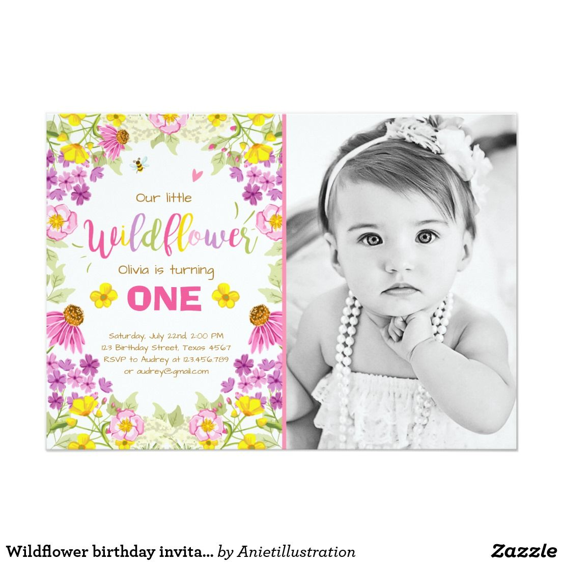 Wildflower birthday invitation Floral Girl pink | Avery\'s Third ...