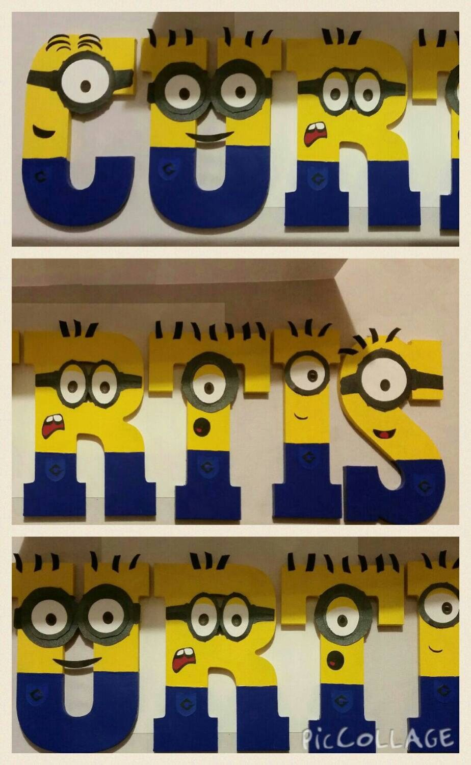 Wooden Minion Letters Minion Name Personalized Minion Birthday Minion Party Minion Party Minion Decorations Minion Birthday