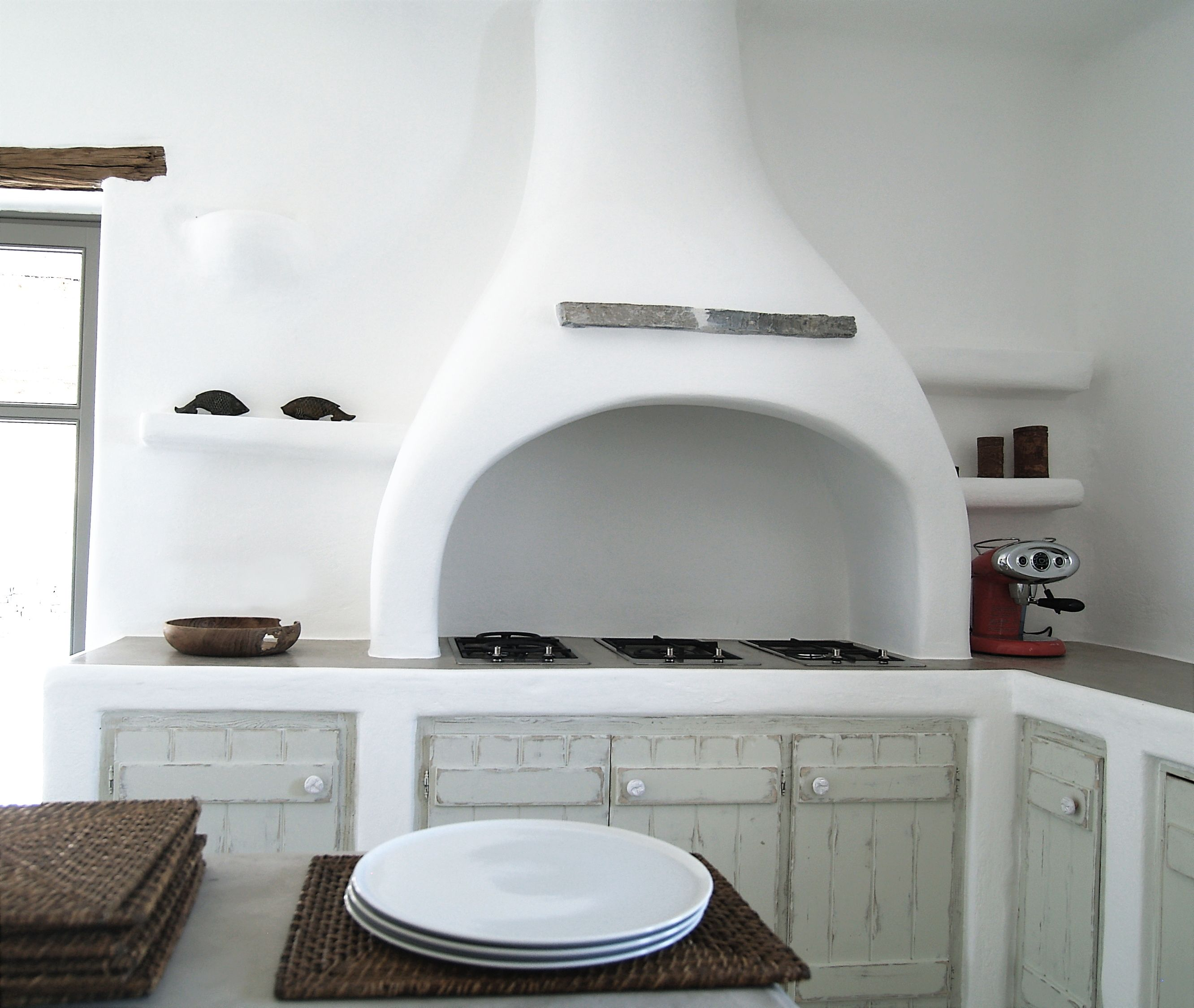Paros, Greece. Traditional built kitchen counter and hood. | Natural ...