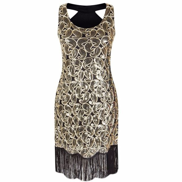 Women Party Dress Robe Femme 1920s Great Gatsby Flapper Sequin Fringe Midi  Dress Vestido Summer Art ... a794aa17a358