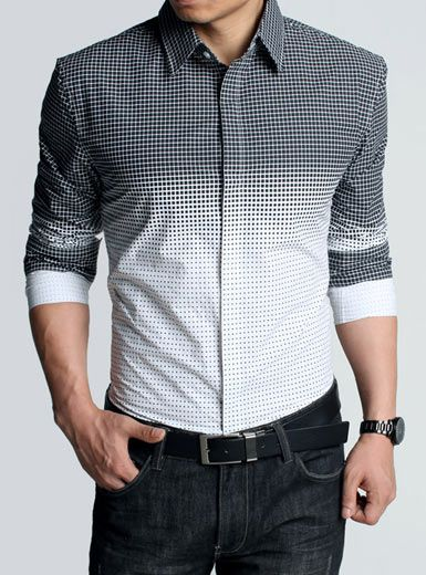 f5db79ec674 Great shirt - nice twist to the usual collared shirt with shades of black  to white and checkered to dots.