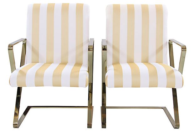 Brass-Plated Armchairs, Pair on OneKingsLane.com