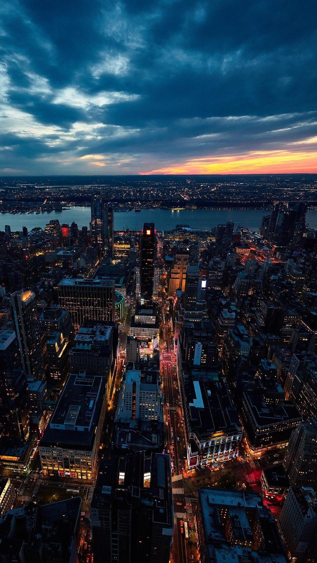 1080x1920 iPhone Hintergrundbild Sunset on New York