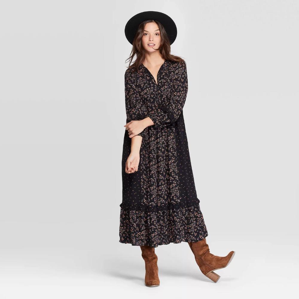 Women S Floral Print Long Sleeve V Neck Dark Grounded Maxi Dress Universal Thread Black Target Maxi Dress Dresses Long Sleeve Midi Dress [ 1000 x 1000 Pixel ]