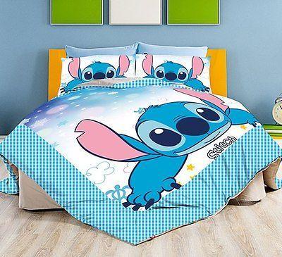New 2015 Disney Lilo Stitch Bedding Set 4pc Queen King Bed Cotton