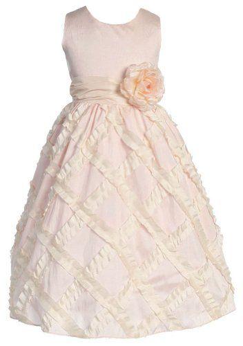 Amazon.com: Girls Sweet Kids New Ruffled Diamond Pink & Ivory Dress: Clothing