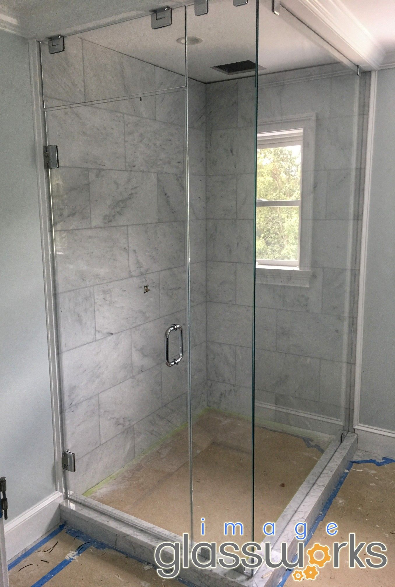 Bathroom Is Currently Under Construction But Take A Look At This Beautifully Completed Steam Unit Enclosure W Frameless Shower Doors Glass Shower Shower Doors