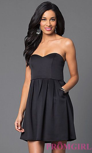 Short Strapless Sweetheart Party Dress at PromGirl.com