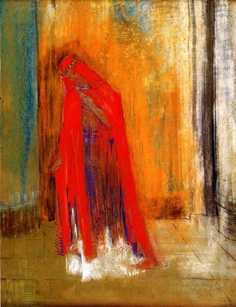 Woman in Red by Odilon Redon. Symbolism. genre painting. Musée d'Orsay, Paris, France
