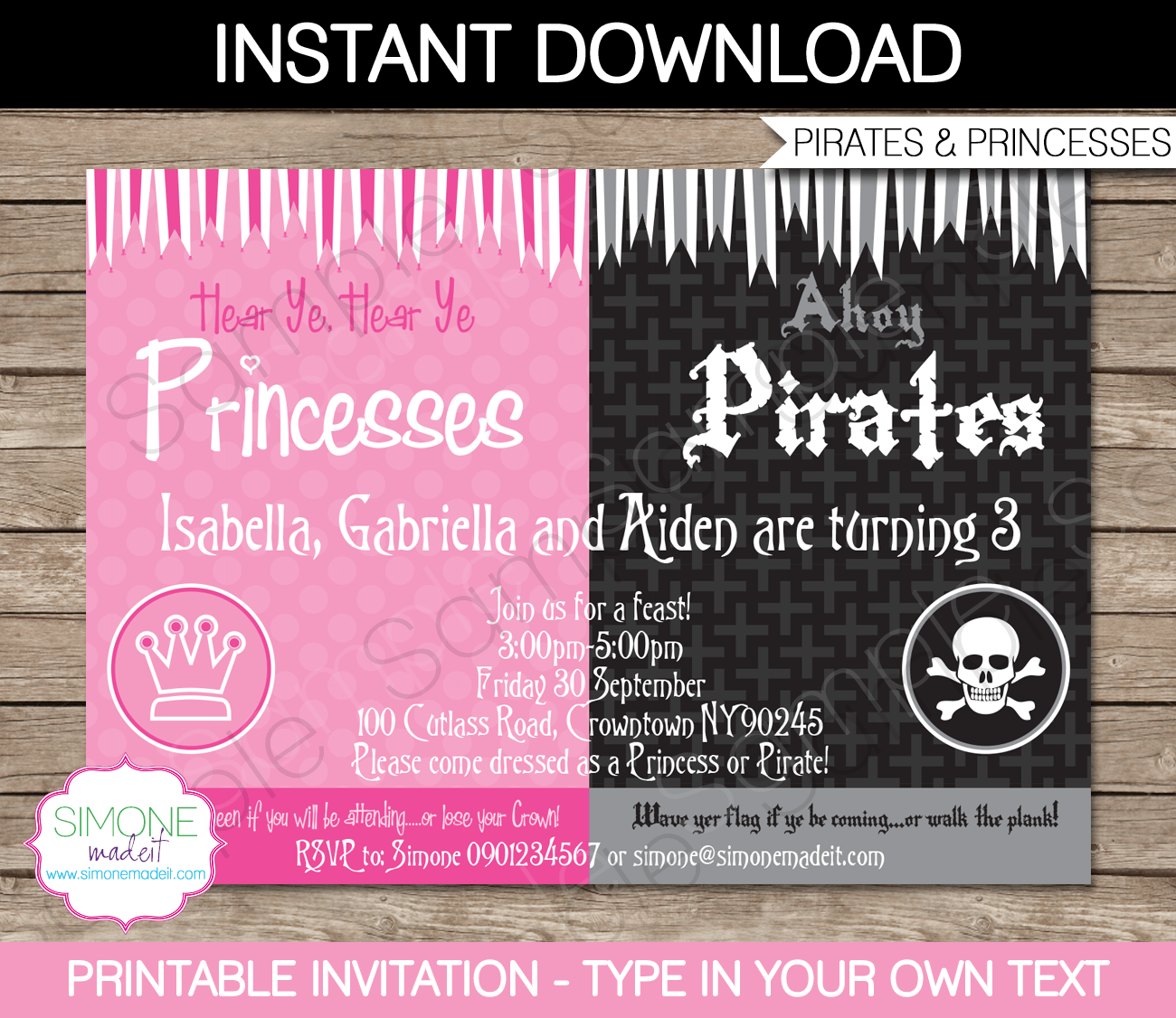 Pirate and princess party printables invitations princess pirate and princess party printables invitations filmwisefo Choice Image
