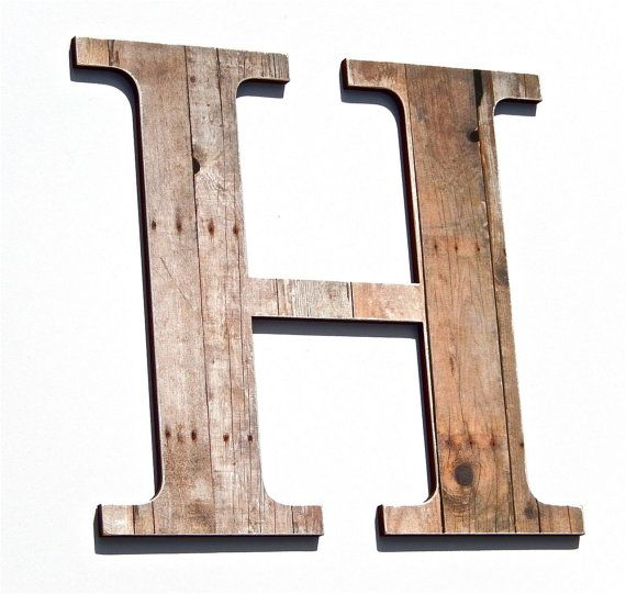 Letter H Wall Decor rustic letter h, wood grain print, chic wall decor, ornament