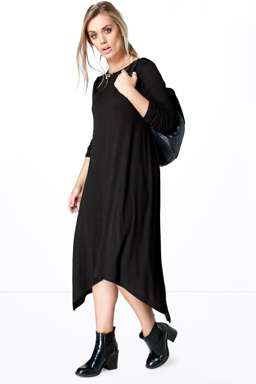 0fbfca5be0c Plus Emily Long Sleeve Hanky Hem Dress
