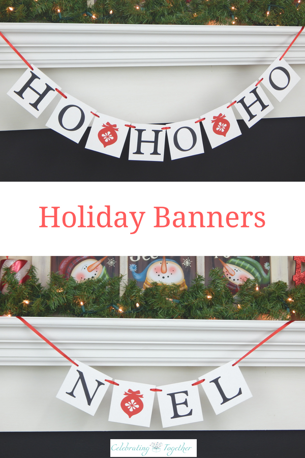 Christmas Ornament Holiday Banners Love the classic look of the Christmas ornament accented Christmas banner A clean and traditional style Christmas decoration for your l...