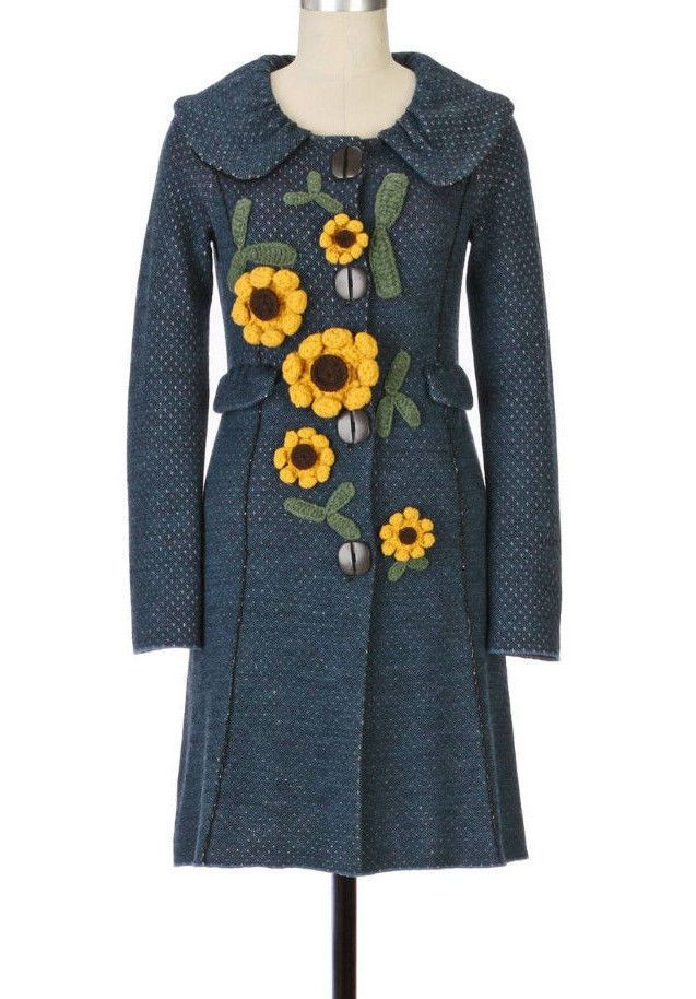 07c24b3792ed40 RARE ANTHROPOLOGIE Charlie and Robin SUNFLOWER SWEATERCOAT LONG SWEATER  JACKET L #Anthropologie #Sweatercoat