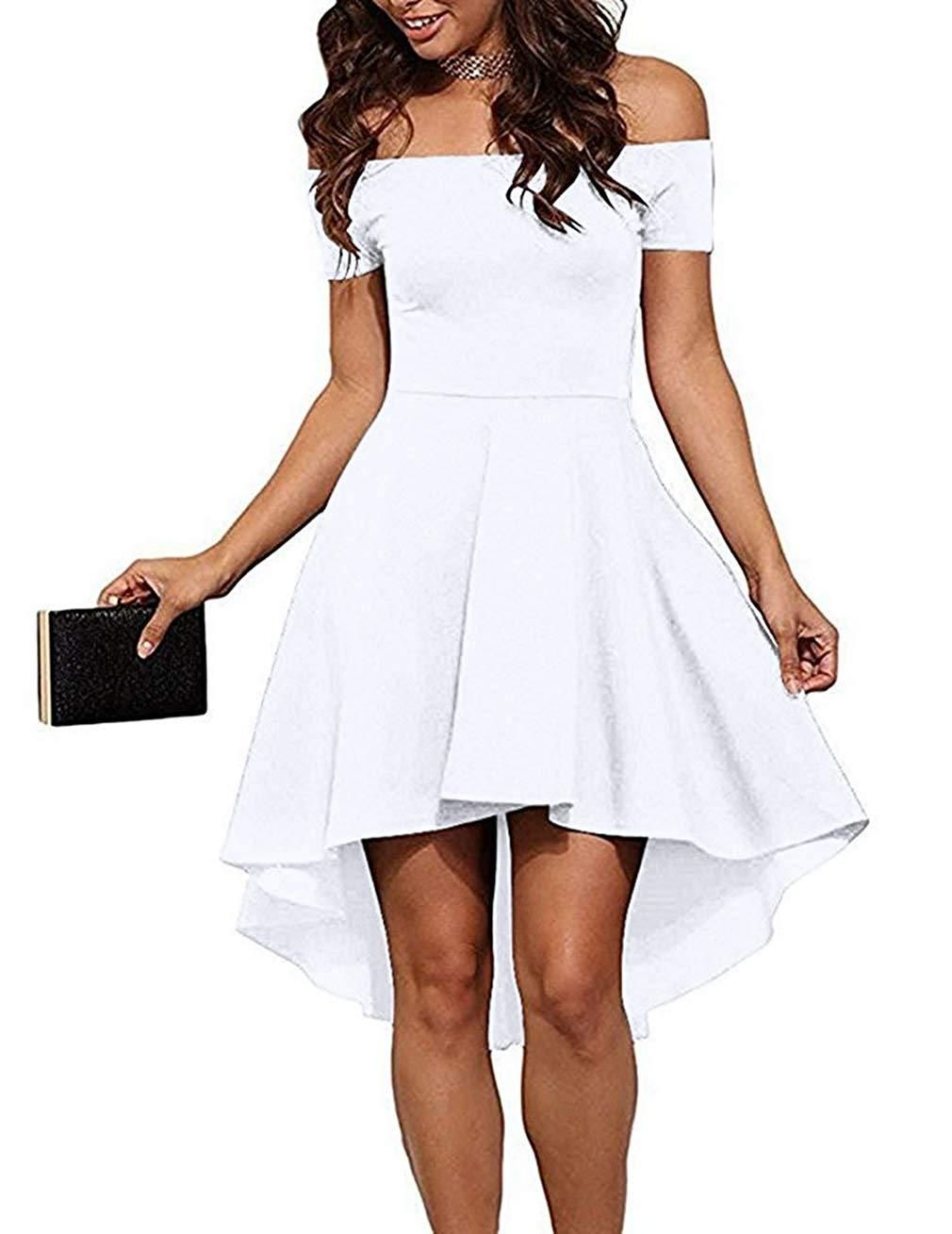 f7711eb7c0 Sarin Mathews Womens Off The Shoulder Short Sleeve High Low Cocktail Skater  Dress