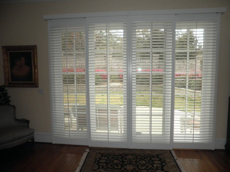 White Wooden Sliding Patio Door Using Venetian Window Blind And Cream Painted Wall Plus Square Rug On Harwood Floor With Bi Fold Doors