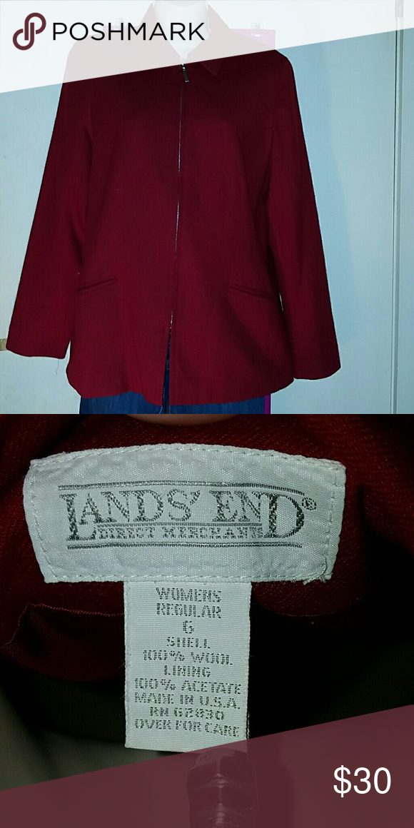 Lands End Wool Blazer Beautiful red zippered jacket.  Has two slit pockets in front. 100% wool. Fully lined with acetate. Size 6. Super nice in perfect condition! Lands' End Jackets & Coats