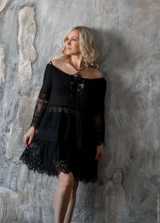 Черное платье хлопок кружево ткань для слинга шарфа купить