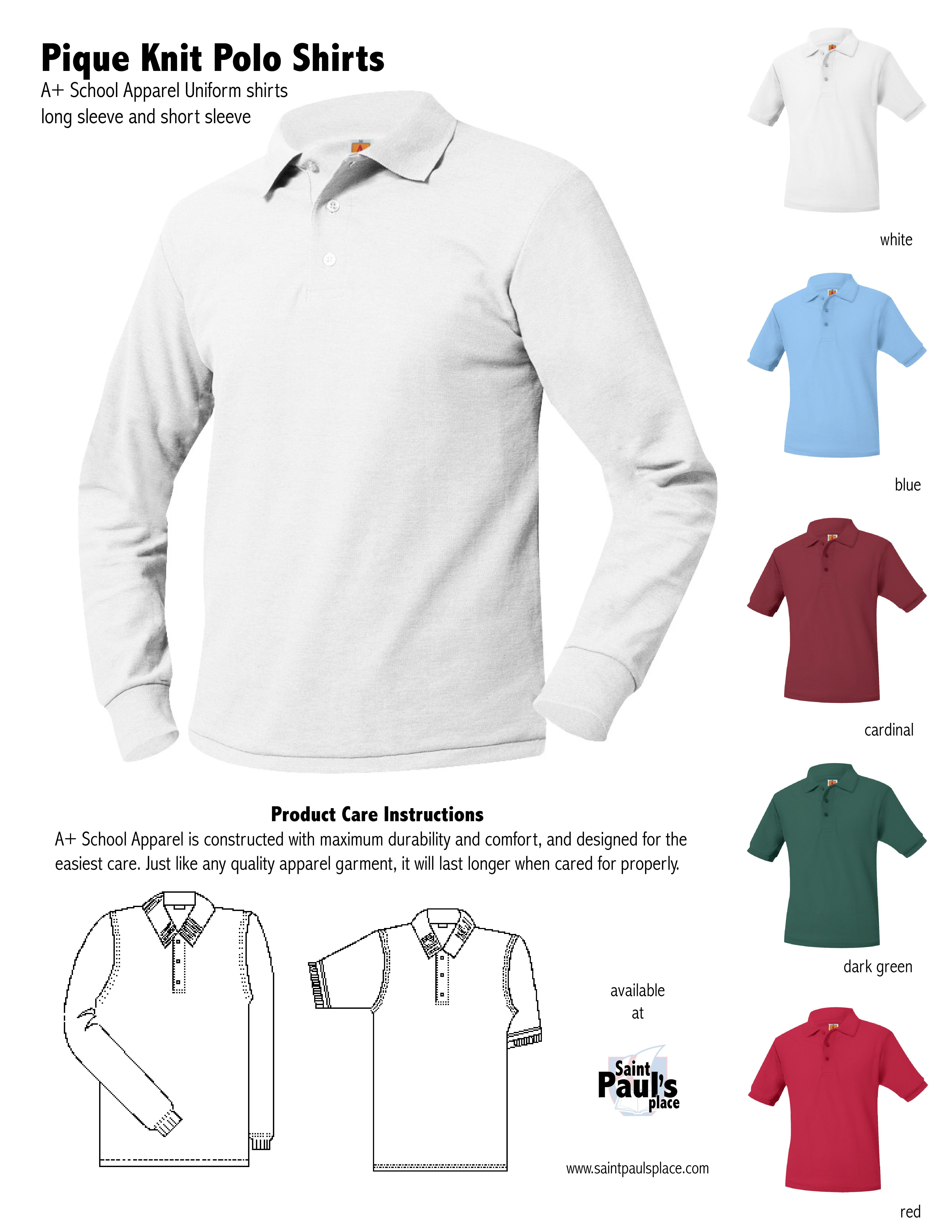 A School Apparel Pique Knit Polo Uniform Shirts Uniform And