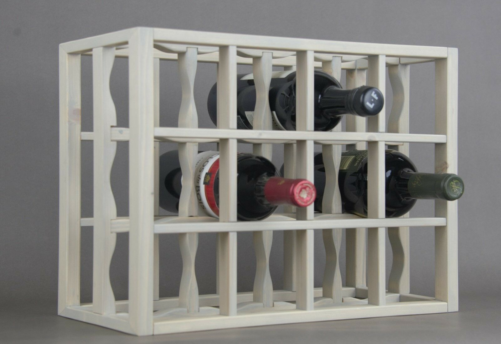 Victoria Wine Rack 12 Bottles Solid Wood Sunbleached Grey Stain