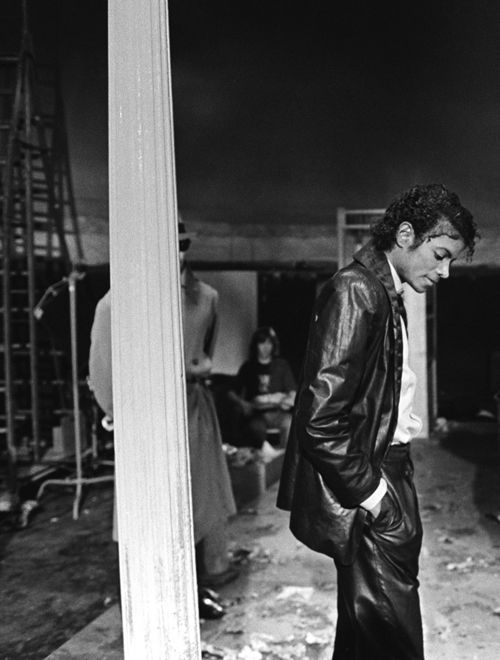 "Michael Jackson on the set of the ""Billie Jean"" music video"