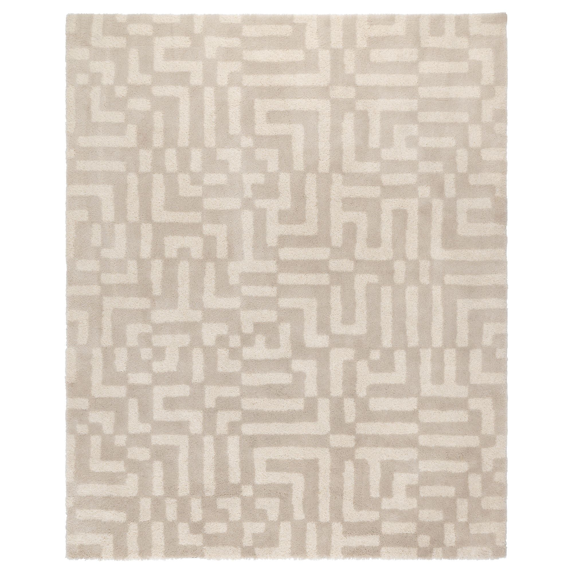 fakse rug, high pile, off-white | oak table, living spaces and condos, Hause deko