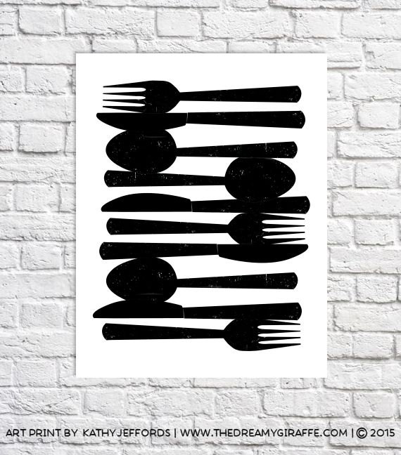 Kitchen Utensil Decor Spoon And Fork Wall Decor Fork U0026 Knife Minimalist Art  Print Decor For