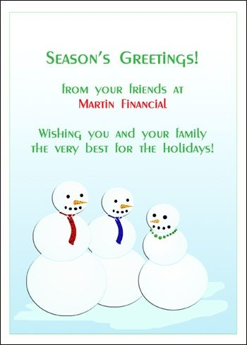 Business Seasons Greetings Snowman Holiday Cards Wording Ideas - inauguration invitation card sample