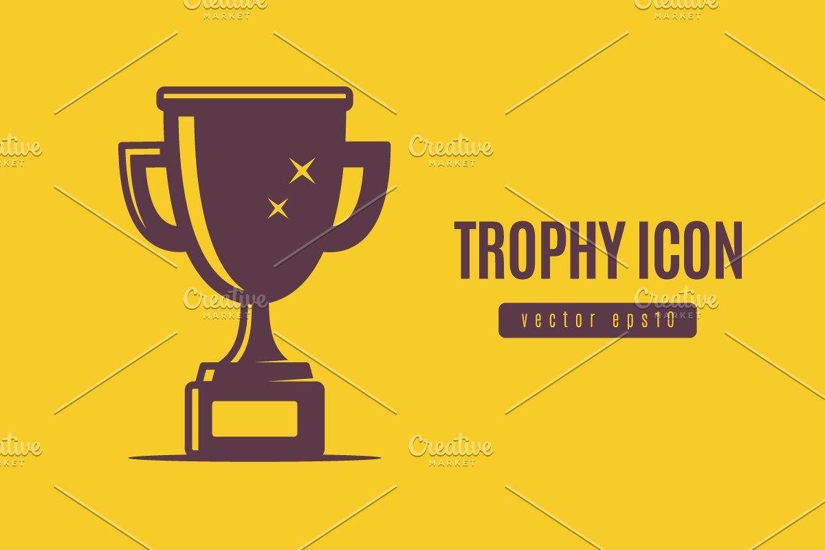 Trophy Icon Color Vector Icon Chalkboard Invitation Template
