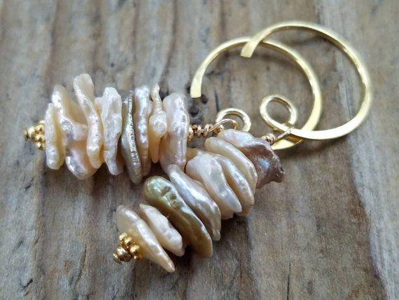 Cream Keishi Pearl Earrings and Hill Tribe 24k Gold Vermeil, June Birthstone, Cornflake Pearl, Cream #pearljewelry