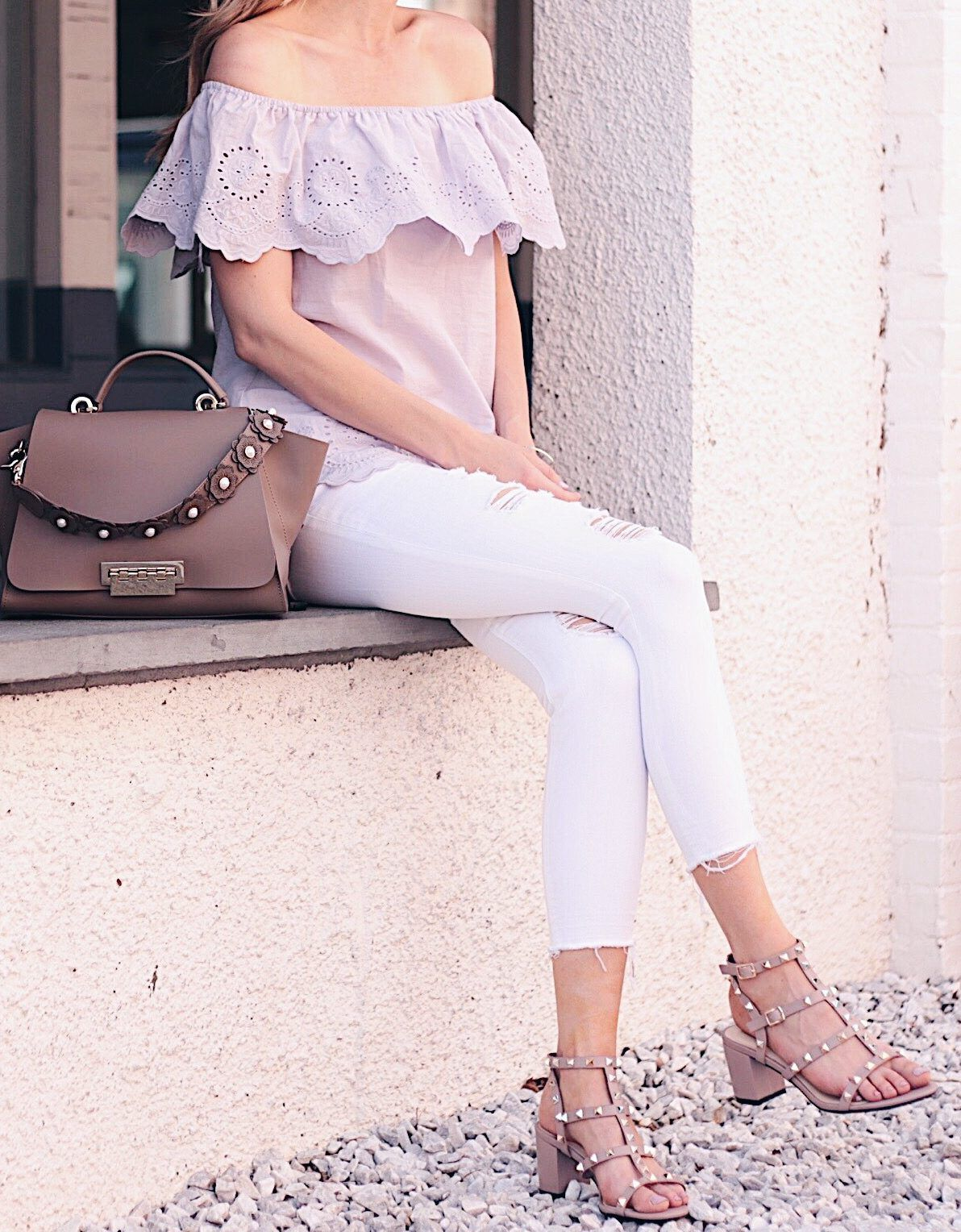 ae4feb75a0d summer outfit ideas  purple eyelet off the shoulder top with distressed  white cropped jeans and valentino rockstud block heel dupes