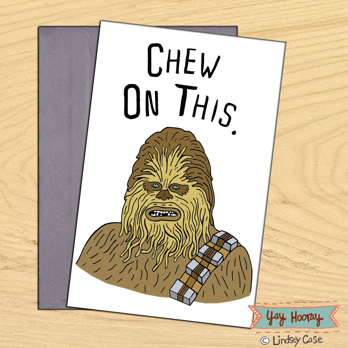 Chew on this chewbacca star wars blank funny birthday pun card chew on this chewbacca star wars blank funny birthday pun card bookmarktalkfo Choice Image
