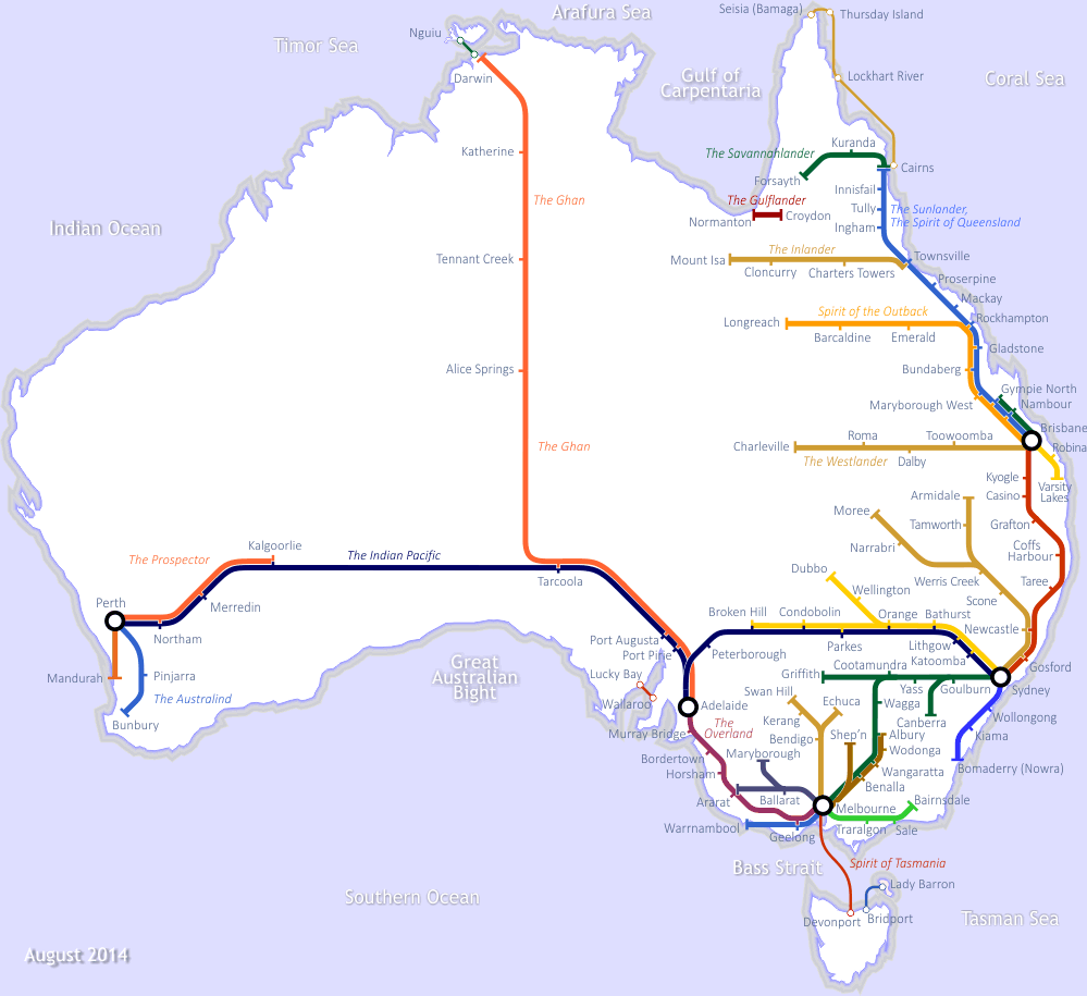 Sydney Australia Train Map.The Rail Map Of Australia Cartography Australia Map Train Map Map
