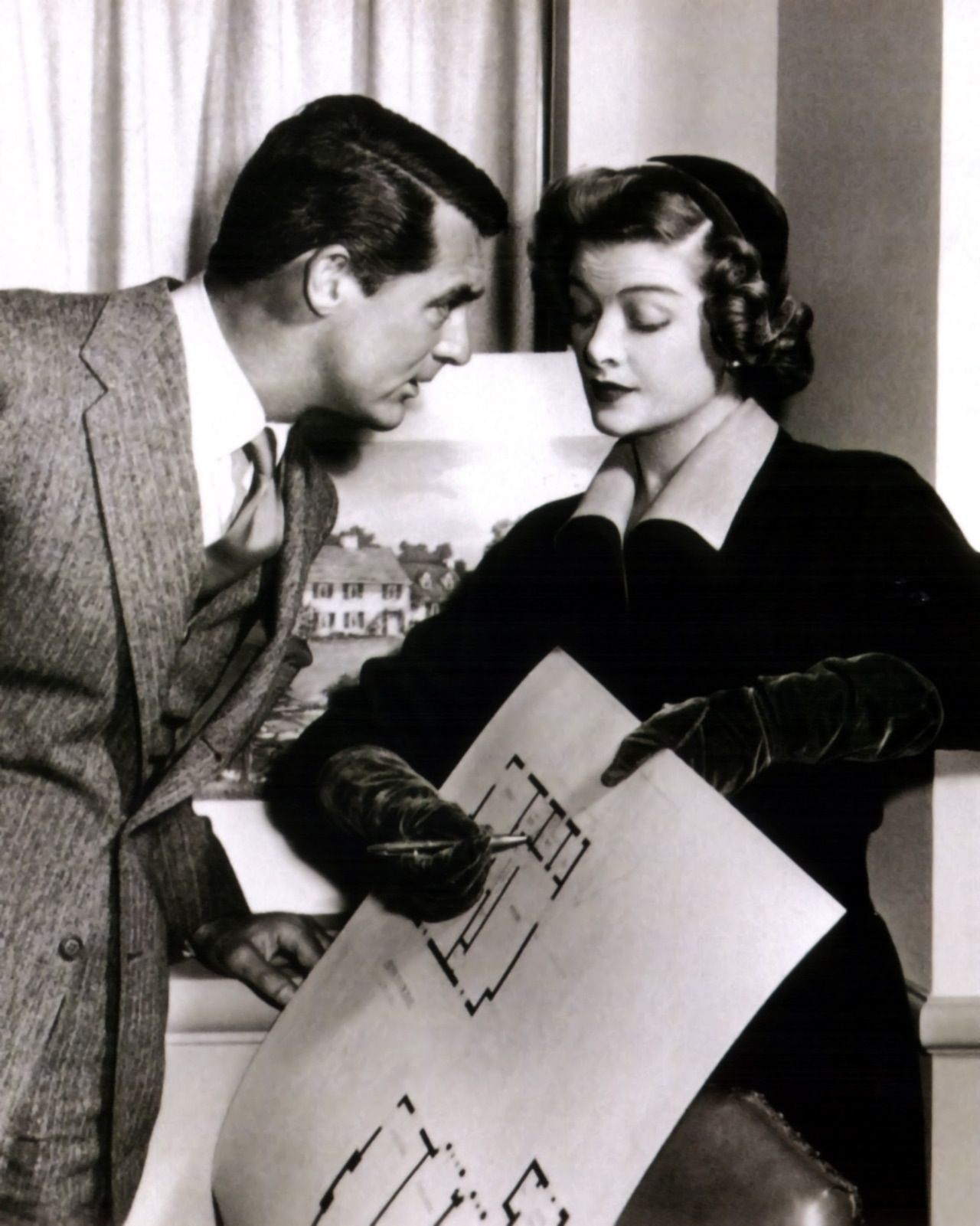 Cary Grant and Myrna Loy. Mr. Blandings Builds A Dream Home.--one of my favorite old movies!!!!