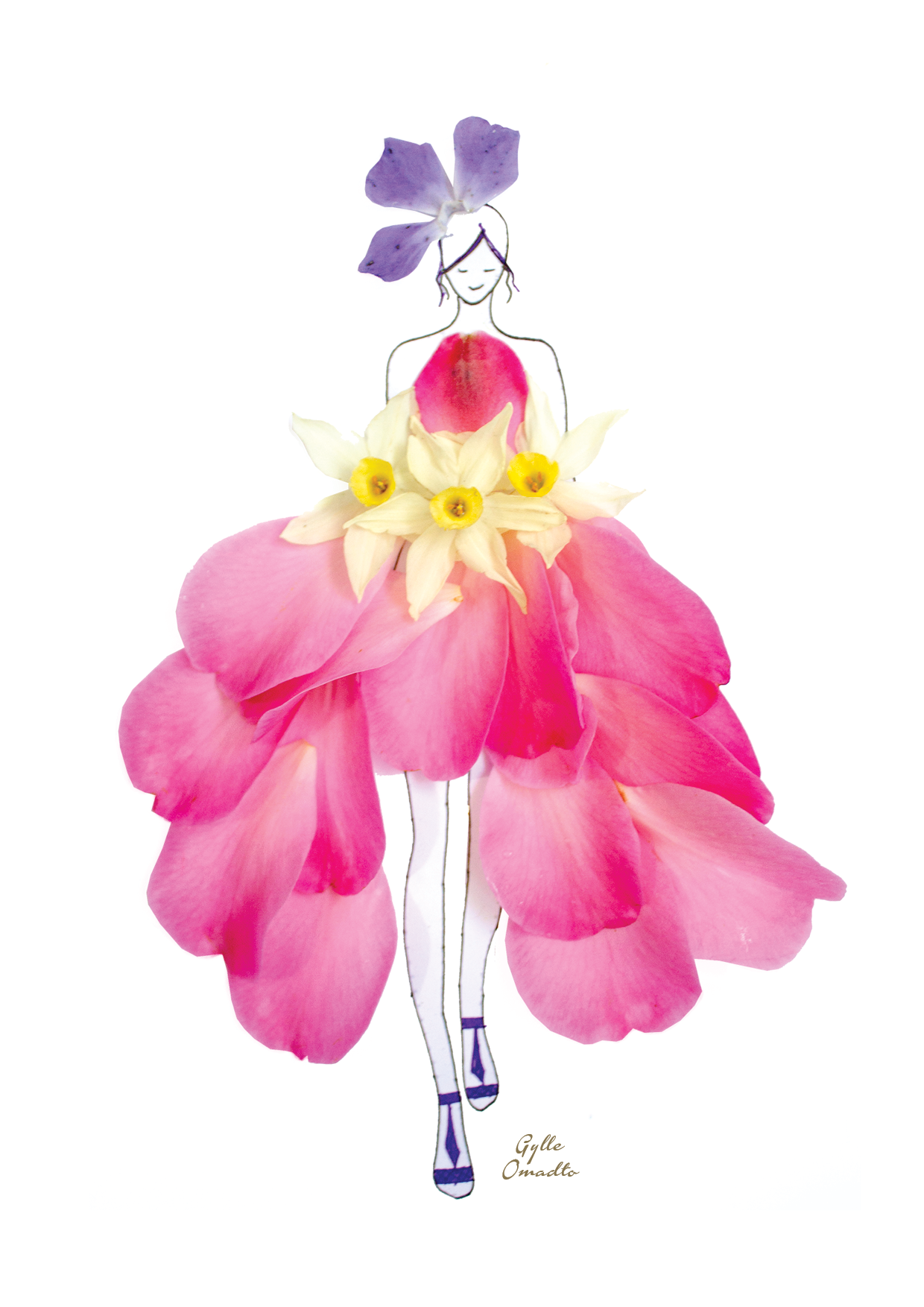 fashion illustrations with real flower petals as clothing
